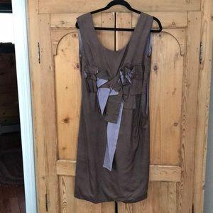 Silk dress.Taupe w/ soft lilac iconic MARNI bows.
